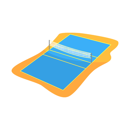 Volleyball or badminton court with net in flat style top view. Playground with hard blue surface. Place for team sport and active game. Vector illustration icon isolated on white background.