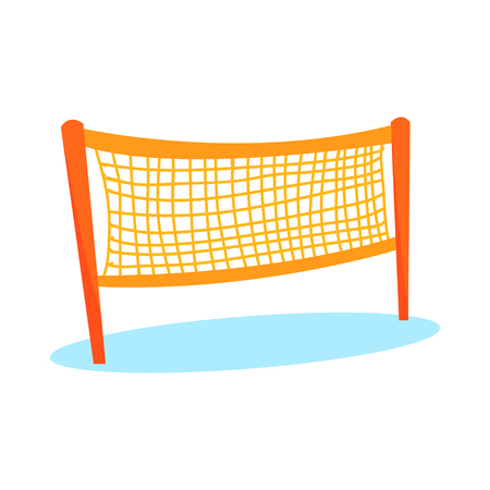 Cartoon orange volleyball or badminton net for playing field in flat style. Item for team sport. Beach game equipment for activity play. Vector illustration icon isolated on white background.