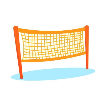 평면 스타일의 경기장을위한 만화 오렌지 배구 또는 배드민턴 네트. 팀 스포츠를위한 아이템. 활동 놀이를위한 해변 게임 장비. 흰색 배경에 고립 된  일러스트