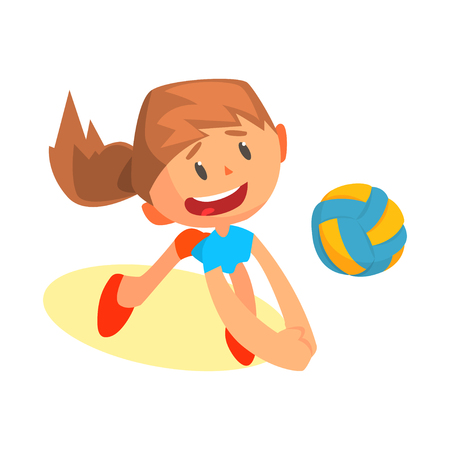 Cheerful teen girl volleyball player in uniform hitting ball. Beach game, active play, competition, tournament. Professional sportswoman with ball. ?artoon flat vector character isolated on white.
