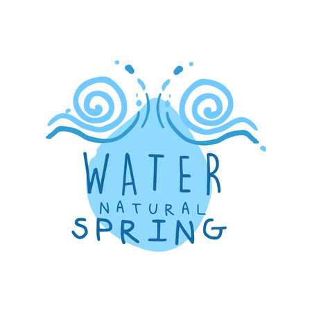Hand drawn signs of pure spring water for  badge with text. Abstract blue swirling waves. Kids drawing style, ecology theme. Vector natural aqua label for mineral water isolated on white.