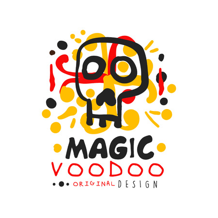 Voodoo African and American magic  label design with abstract mystic skull. Spiritual, magical, cultural symbols. Traditional religion. Hand drawn mystical vector illustration isolated on white