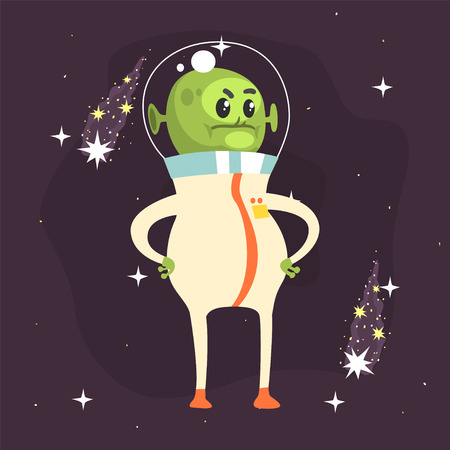 Angry fat alien posing with arms akimbo. Little green martian in white space suit. UFO theme. Funny extraterrestrial cartoon sci-fi character concept. Vector illustration in flat style.