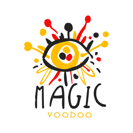Voodoo African and American magic label design, abstract eye with needles. Spiritual, magical, cultural symbols. Traditional religion. Hand drawn mystical vector illustration isolated on white