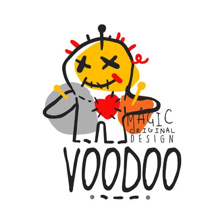 Voodoo Afrikaans en Amerikaans magisch labelontwerp, pop met naalden. Spirituele, magische, culturele symbolen. Traditionele religie. Hand getrokken mystieke vectorillustratie geïsoleerd op wit. Stock Illustratie