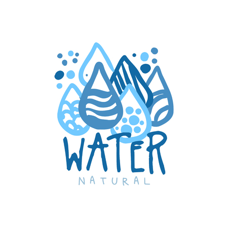Hand drawn signs of pure water droplets for  badge with text. Abstract blue patterned drops. Kids drawing style, ecology theme. Vector natural aqua label for mineral water isolated on white.