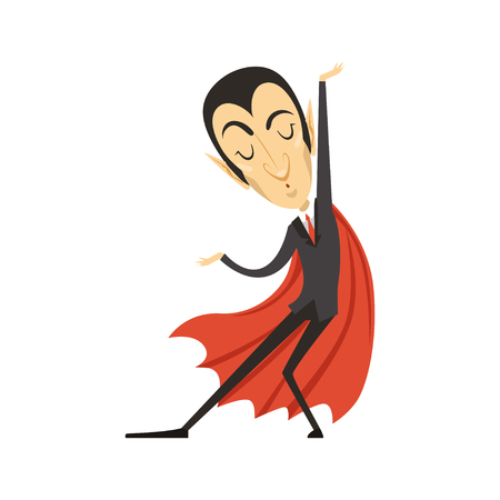 Count Dracula, dancing vampire in suit and red cape