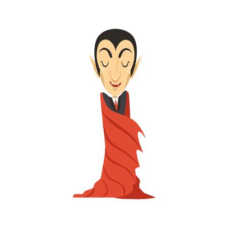Graaf Dracula, vampier gewikkeld in een mantel Stock Illustratie