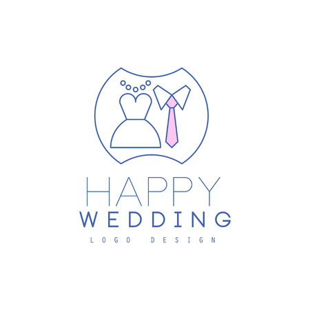 Cute line design with wedding dress and tie