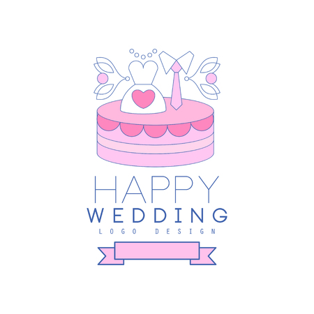 Cute line design with cake, dress and tie on the top Illustration