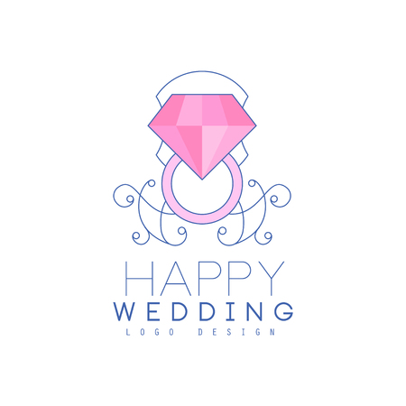 Wedding line design with diamond ring and ornament