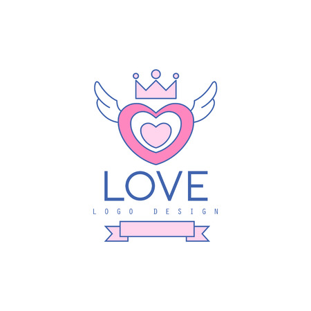 Cute line design heart with wings and crown