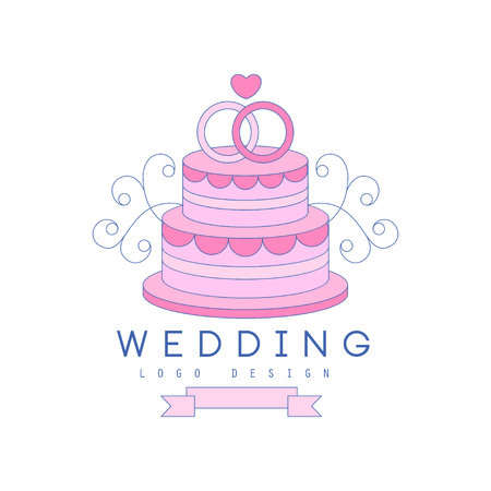 Line design with wedding cake and rings on top
