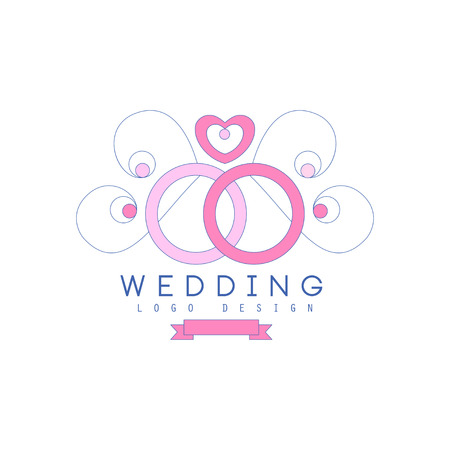 Cute line design with wedding rings and ornamental decoration