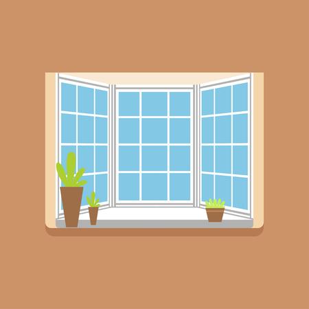Flat window with potted plants on a windowsill Çizim