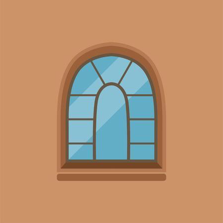 플랫 하우스 갈색 벽에 아치형 된 창