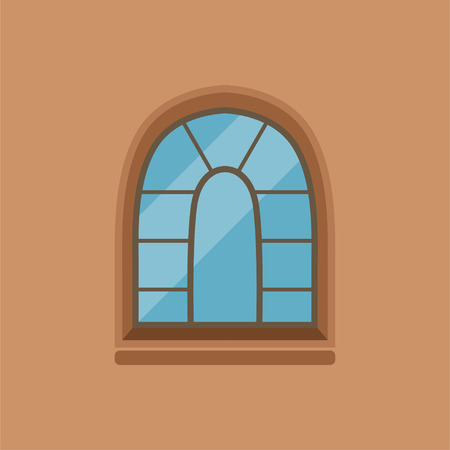 Flat house arched window on brown wall Illustration