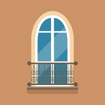 Flat arched window and decorative facade cornice