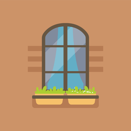 Flat arched window and potted flowers