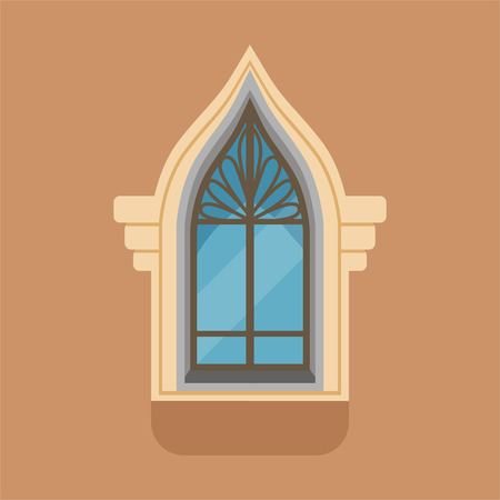 Flat window with unusual gothic form on brown wall