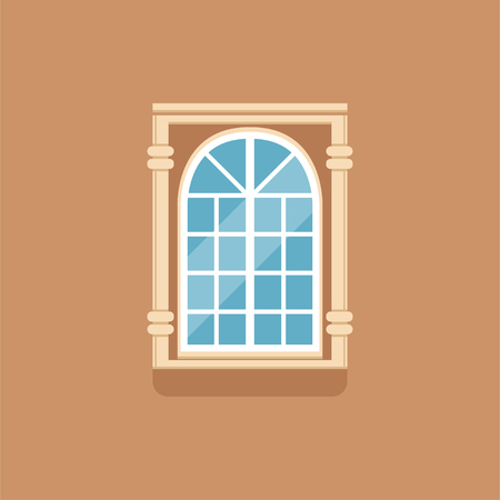 Flat classical arched window with decorated facade Иллюстрация