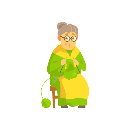 Old lady knitting wool product