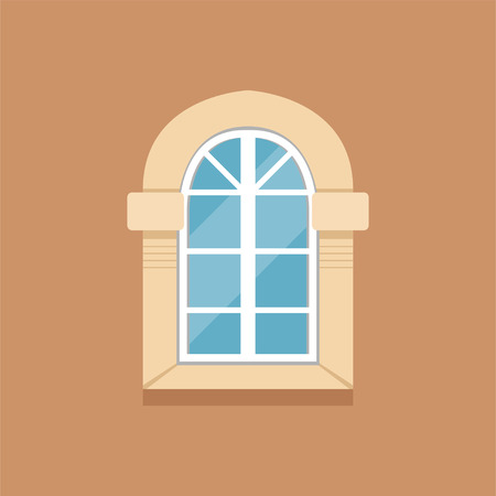 Flat classical arched window on brown wall