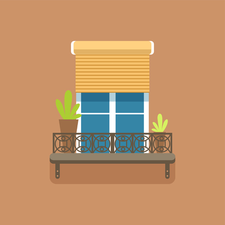 Flat window with jalousie and potted flowers Ilustração