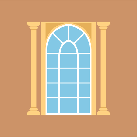 Flat window on brown wall decorated with columns Иллюстрация