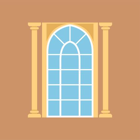 Flat window on brown wall decorated with columns Ilustração