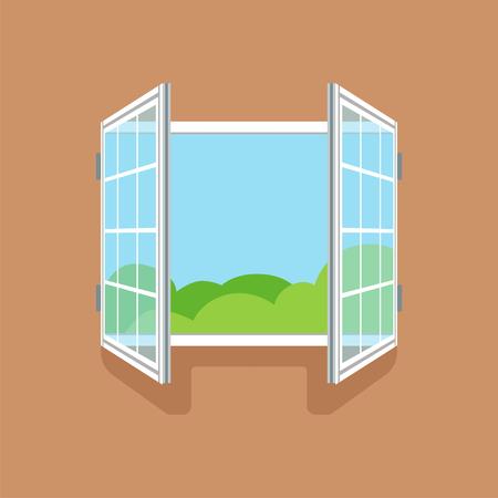 Flat open window on brown wall