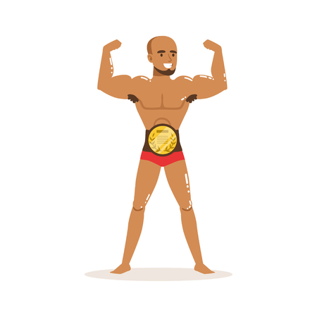 Cartoon muscularity wrestler posing with championship belt