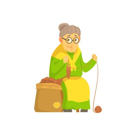ウールの老婦人回転ボール  イラスト・ベクター素材