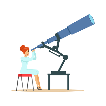 mujer astrónomo mirando a través del telescopio Ilustración de vector