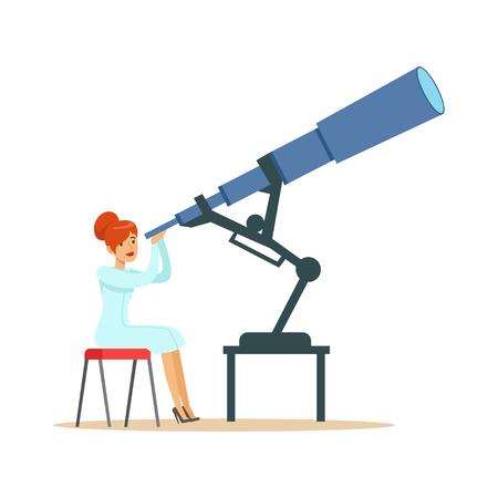 Vrouwenastronoom die door telescoop kijken Stock Illustratie