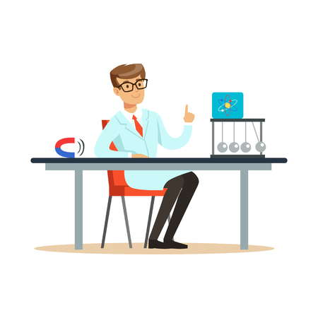 Young physicist sitting behind the desk with hand up Illustration