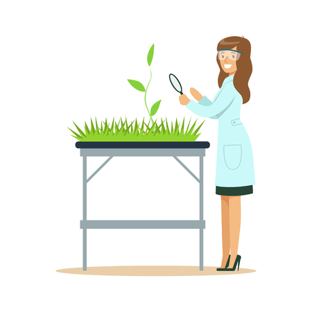 Woman biologist looking at green plant through magnifying glass