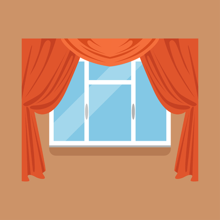 Flat window with red curtains on brown wall