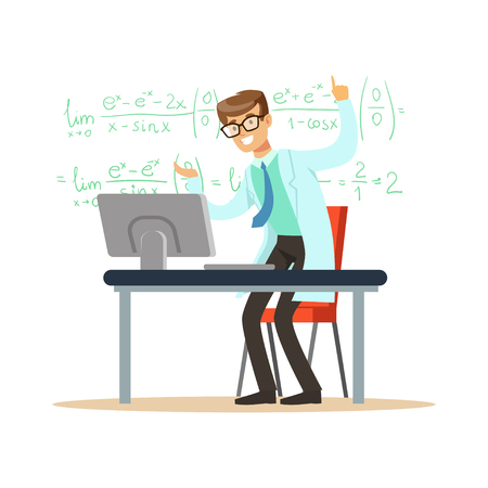 Cheerful theoretical physicist or mathematician solved the problem Stock Vector - 88198568