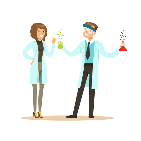 Chemist in protective glasses holding test tubes and female colleague
