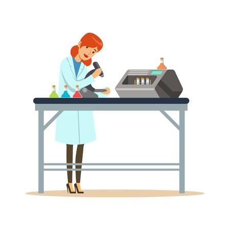 Docteur femme travaillant avec microscope et tubes à essai dans le laboratoire Banque d'images - 88198572