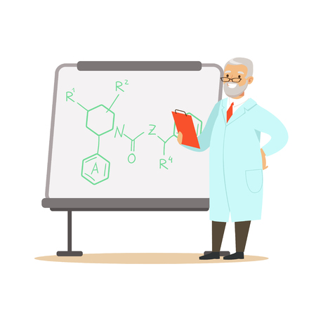Gray-haired man scientist stands next to whiteboard with formula Illusztráció