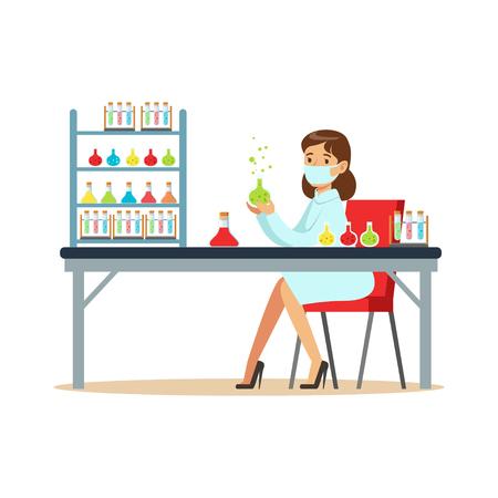 研究室では液体と実験女性科学者  イラスト・ベクター素材