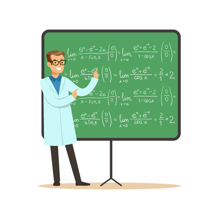 Doctor of mathematical sciences stands next to blackboard with formulas Ilustração