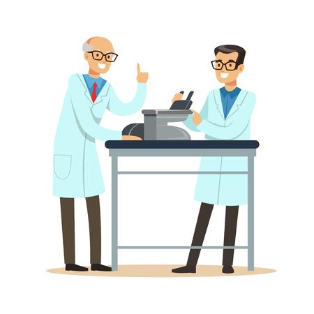 顕微鏡の研究を行っている職場で 2 つの陽気な男性科学者