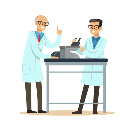 Two cheerful men scientists at workplace doing microscope research