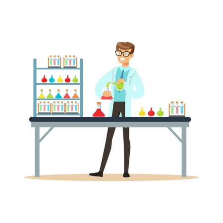 Scientist in modern laboratory conducting experiments with liquids