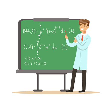 Physicist stands next to blackboard with mathematical formulas Ilustração