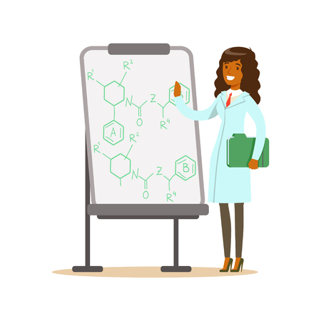 Woman scientist stands next to whiteboard with formula