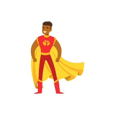 Männlicher Superheld im klassischen Comic-Kostüm mit Umhang Standard-Bild - 88257583